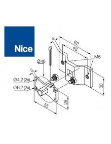 Nice 525.10017/M6 - Support moteur Nice Era MH pivot carrée 10 mm