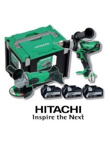 Lot Perceuse-Visseuse + Meuleuse Hitachi 18V 5Ah