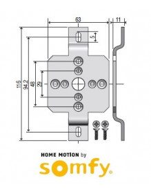 Support moteur Somfy LS40 caisson ZF