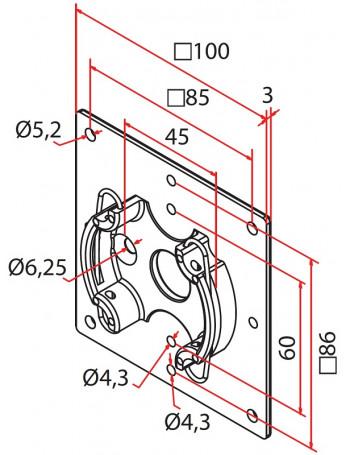 Cherubini A4506_0614 - Support moteur Cherubini plaque 100x100