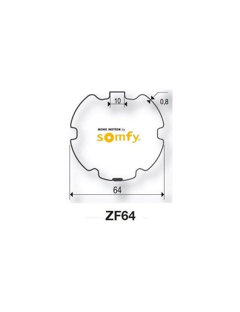 Bagues ZF64 moteur Somfy LT50 - LT50 CSI (axe en coupe)
