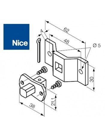Support moteur Nice Era S pivot carrée 10 mm